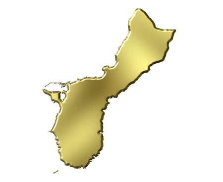 guam: Guam 3d golden map isolated in white Stock Photo