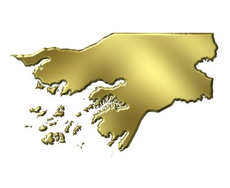 bissau: Guinea-Bissau 3d golden map isolated in white