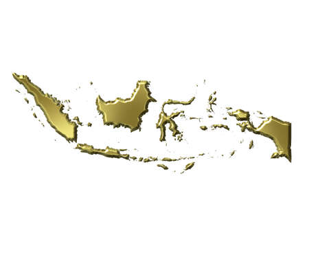 Indonesia 3d golden map isolated in white Stock Photo - 5869078