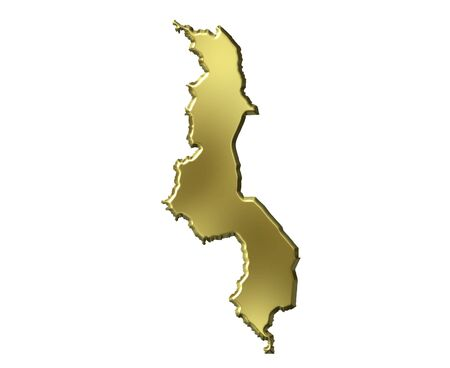 malawi: Malawi 3d golden map isolated in white