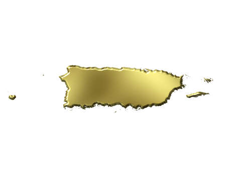 Puerto Rico 3d golden map isolated in white photo