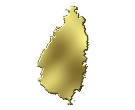 lucia: Saint Lucia 3d golden map isolated in white