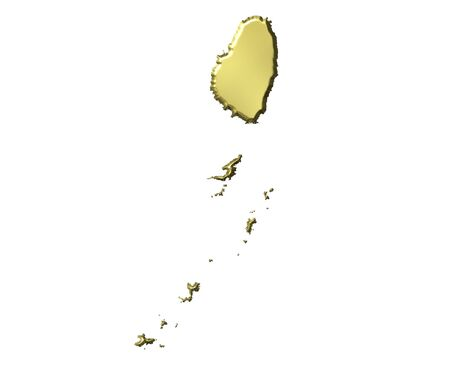 grenadines: Saint Vincent and the Grenadines 3d golden map isolated in white