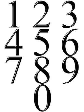 numbers clipart: 3d black numbers with reflection