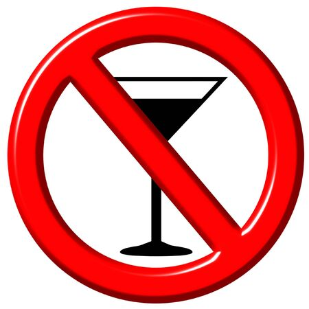 warning icon: No alcohol 3d sign isolated in white