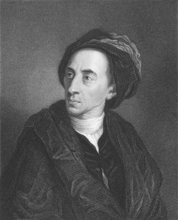 best known: Alexander Pope on engraving from the 1850s. English poet best known for his satirical verse and translation of Homer.