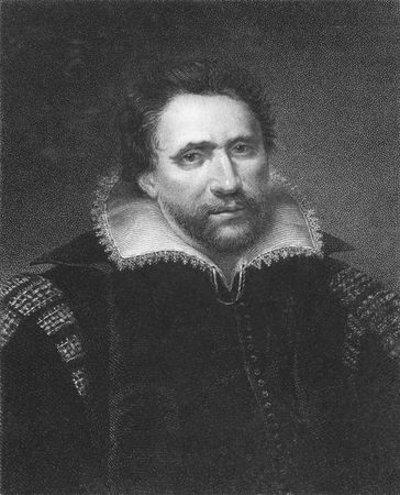 dramatist: Ben Jonson on engraving from the 1850s. English renaissance dramatist, poet and actor.