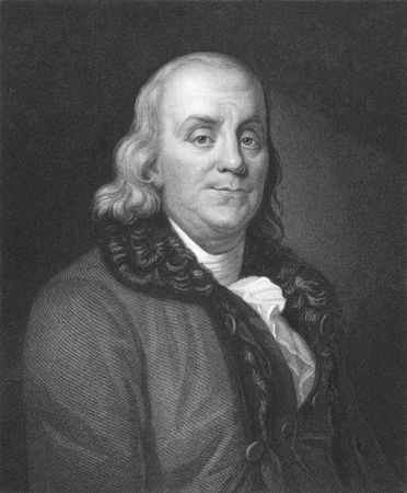 Benjamin Franklin on engraving from the 1850s. One of the founders of the United States of America.