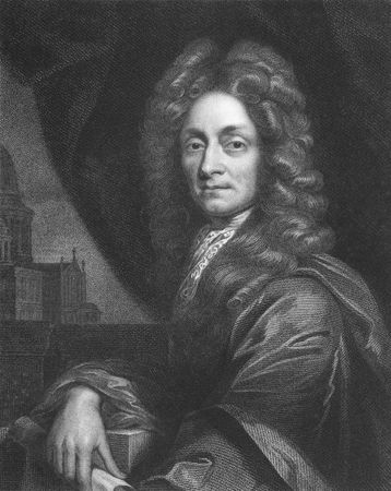 Christopher Wren on engraving from the 1850s. One of the best known English architects who rebuilt 55 churches in London after the great fire in 1666, including his masterpiece St Paul's Cathedral. Stock Photo - 6222021