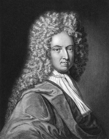 Daniel De Foe on engraving from the 1850s. English writer, journalist, and pamphleteer who gained enduring fame for his novel Robinson Crusoe. Stock Photo - 6222014