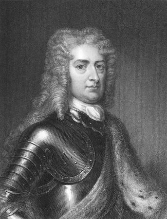 1st Duke of Marlborough, John Churchill on engraving from the 1850s. Prominent English soldier and statesman .