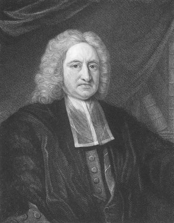Edmond Halley on engraving from the 1850s. English astronomer, mathematician, physicist, geophysicist and meteorologist, best known for computing the orbit of Halley's comet, after whom is named. Stock Photo - 6222040