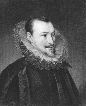 Edmund Spenser on engraving from the 1850s. 16th century english poet. Stock Photo - 6222013