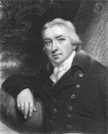 Edward Jenner auf Stich aus den 1850er Jahren. Der Vater der Immunologie. Pionier der Pocken-Impfstoff. Editorial