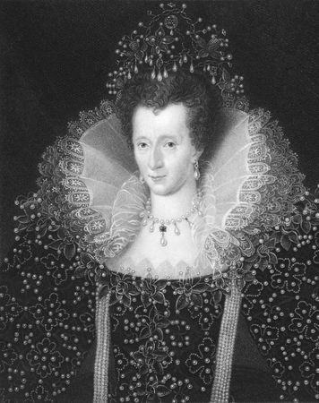 english famous: Elizabeth I on engraving from the 1850s. Queen of England and Queen of Ireland 1558-1603.