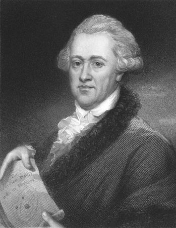astronomer: Frederick William Herschel on engraving from the 1850s. German astronomer, technical expert and composer.