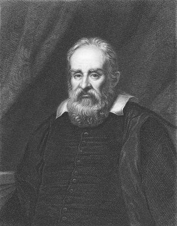 Galileo Galilei en grabado desde la década de 1850. Físico italiano, astrónomo, matemático y filósofo que desempeñó un papel importante en la revolución científica.