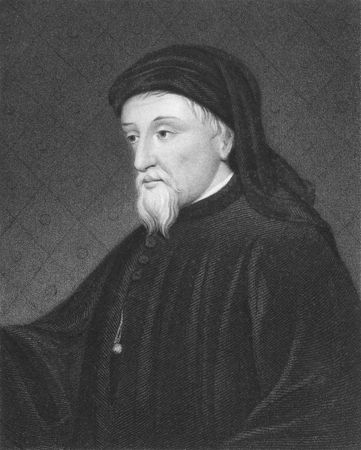 diplomat: Geoffrey Chaucer on engraving from the 1850s. English author, poet, philosopher, bureaucrat, courtier and diplomat.
