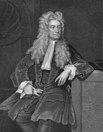 Isaac Newton on engraving from the 1800s. One of the most influential scientists in history. Editorial