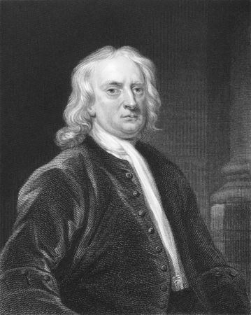 Isaac Newton on engraving from the 1850s. One of the most influential scientists in history.
