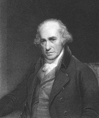 uitvinder: James Watt op gravure uit de 1850s. Schotse uitvinder en werktuigbouwkundig ingenieur.