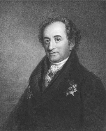 Johann Wolfgang von Goethe on engraving from the 1850s. German writer and polymath.