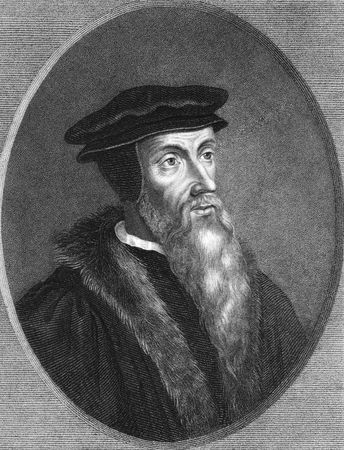 theologian: John Calvin on engraving from the 1850s. Theologian, founder of Calvinism.