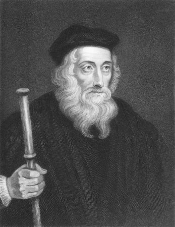 theologian: John Wiclif on engraving from the 1850s. English theologian, lay preacher, translator, reformist and university teacher known as an early dissident in the toman catholic church during the 14th century.