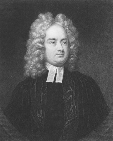 Jonathan Swift on engraving from the 1850s. Irish satirist, essayist, political pamphleteer, poet and cleric.