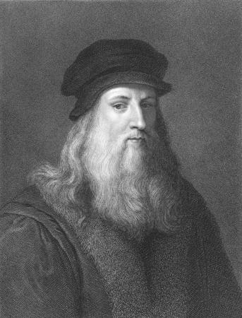 uitvinder: Leonardo Da Vinci op gravure uit de 1850s. Italiaanse polymath, wetenschapper, uitvinder, schilders, wiskundige, technicus, anatomist, sculptor, architect, botanist, muzikant en schrijver. Algemeen beschouwd als een van de grootste schilders van alle tijd en per