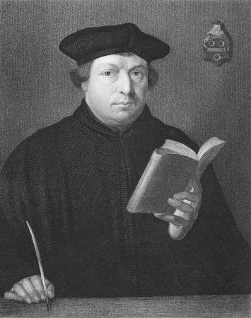 Martin Luther auf Stich aus den 1850er Jahren. Priester und Theologie-Professor. Führer der großen religiösen Revolte des 16.Jahrhunderts in Deutschland.