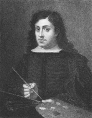 Bartolome Esteban Murillo on engraving from the 1850s. Spanish painter, one of the most important Baroque figures.