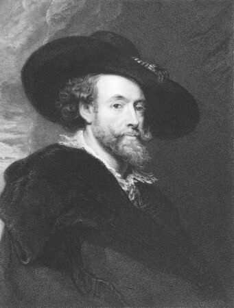 humanist: Peter Paul Rubens on engraving from the 1850s. Flemish Baroque painter.