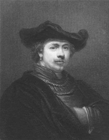 printmaker: Rembrandt on engraving from the 1850s. Dutch painter and etcher. One of the greatest painters and printmakers. Editorial