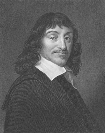 Rene Descartes on engraving from the 1850s. French philosopher, mathematician, physicist and writer.  Editorial