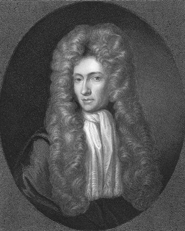 uitvinder: Robert Boyle op gravure uit de 1850s. Ierse natuurlijke filosoof, apotheker, fysicus, uitvinder en afgevaardigde wetenschapper, ook voor zijn geschriften in theologie genoteerd. Een van de oprichters van de moderne chemie.
