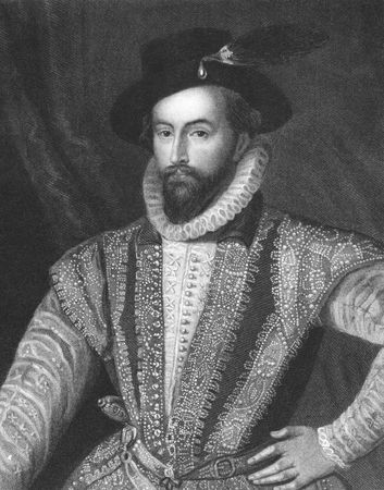 Walter Raleigh on engraving from the 1850s. English aristocrat, writer, poet, soldier, courtier and explorer. Stock Photo - 6221997