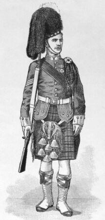 Sargento del primer batallón de Argyll y Sutherland Highlanders en orden de examen en grabado, publicado por el gráfico en 1894.