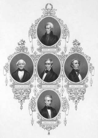 American presidents from 1829 to 1849 on engraving from the 1800s. Published by the London printing and publishing company limited. Stock Photo - 8510655