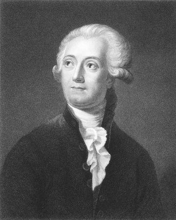 Antoine Lavoisier (1743-1794) auf Stich aus den 1800er Jahren. Der Vater der modernen Chemie. Radierung von C.E.Wagstaff aus einem Bild von David und ver�ffentlichten in London von Charles Knight, Ludgate Street.