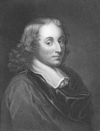 physicist: Blaise Pascal (1623-1662) on engraving from the 1800s. French mathematician, physicist and religious philosopher. Engraved by H.Meyer and published in London by Charles Knight, Pall Mall East.