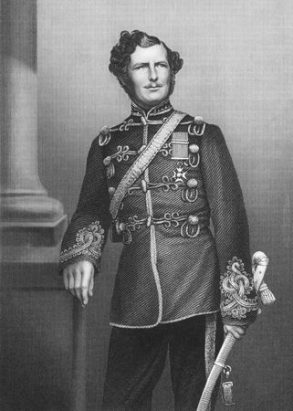 colonel: Major-General Sir Christopher Charles Teesdale (1833-1893) on engraving from the 1800s. The first South African born Recipient of the Victoria Cross. Engraved by D.J.Pound from a photograpg by Watkins and published by the London Printing & Published Compa