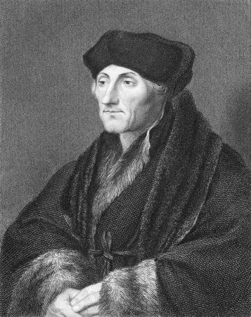 theologian: Erasmus (14661469-1536) on engraving from the 1800s. Dutch Renaissance humanist Catholic priest and theologian. Engraved by E.Scriven after a painting by G.Fenn and published in London by Charles Knight, Pall Mall East.