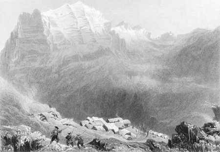 philanthropist: Dormeilleuse, High Alps, scene of Felix Neffs labours. Swiss Protestant, divine and philanthropist that devoted himself entirely to evangelistic work. Engraved by H. Adlard after a picture by Bartlett, published by Fisher, son &  Co in 1844.