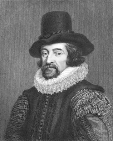 bacon portrait: Francis Bacon (1561-1626) on engraving from the 1800s. English philosopher, statesman, lawyer, jurist, author and scientist. Engraved by J.Pofselwhite from a picture by J.Houbraken in 1738 and published in London by Charles Knight & Co, Ludgate Street. Editorial