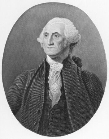 George Washington (1731-1799) on engraving from the 1800s. First President of the U.S.A. during 1789-1797  and commander of the Continental Army in the American Revolutionary War during 1775-1783. Considered as Father of his country. Published in London b Stock Photo - 8510672