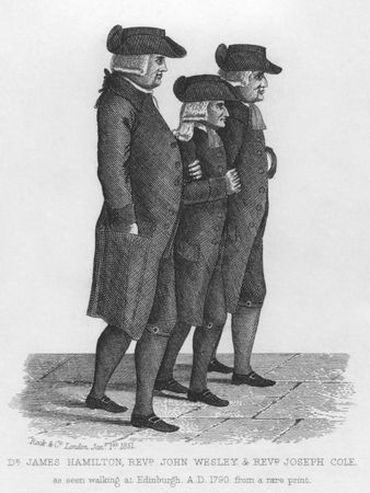 wesley: John Wesley walking in Edinburgh between James Hamilton and Joseph Cole. Wesley was the founder of the Methodist denomination of Protestant Christianity. Published in London by Rock & Co in 1851. Editorial