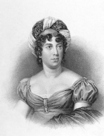 Germaine de Stael (1766-1817) on engraving from the 1800s. French speaking Swiss author living in Paris and abroad. Engraved by E.finden after a painting from Gerard and published in London by A.Fullatron. Stock Photo - 8510633