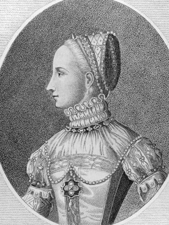 scots: Mary I of Scotland (1542-1587) on engraving from the 1700s. Queen of Scotland during 1542-1567. Engraved by E.Harding in 1796 from a picture published by Cock of Antwerp in 1559.