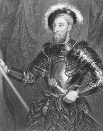 Nicholas Carew (1496-1593) full jousting armour on engraving from the 1800s. English courtier and statesman during the reign of Henry VIII. Executed for his alleged part in the Exeter Conspiracy. Engraved by H.Robinson from the original of H. Holbein and  Stock Photo - 8510650